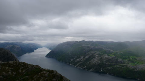 Norway Fjord Lysefjord Panorame from Preikestolen in 4K Ultra HD Timelapse Live Action
