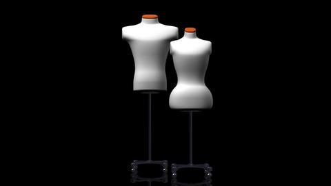 Display Mannequins On Black Background Animation