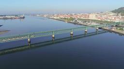 Aerial view of Ponte Eiffel (Eiffel Bridge) over Lima river in Viana Do Castelo, Portugal Live Action