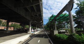 Forward Perspective on East River Bikeway Near Alphabet City in Manhattan Footage