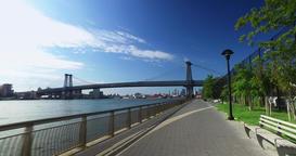 Rider's Perspective Biking on East River Bikeway Near Williamsburg Bridge Footage