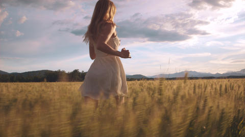 Beauty girl in a white dress running through field and touching wheat heads Footage