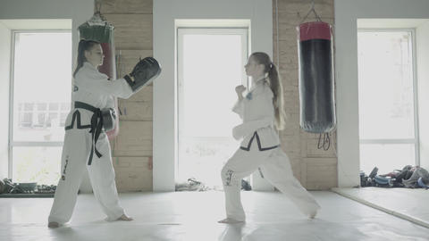 Slowmotion Two Taekwondo Girls Train For A Kick On Boxing Paw Footage