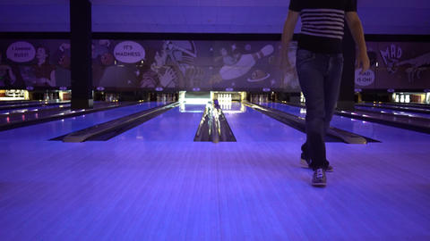 Bowling Game At The Club Footage