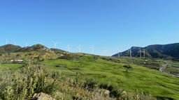 Wind turbines in the mountains moving Footage
