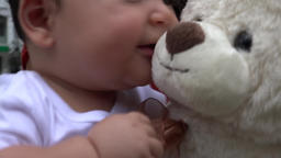 Baby With Teddy Bear, Infant, Plush Toys Footage