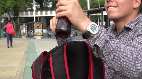 Beer in Student Bookbag Footage