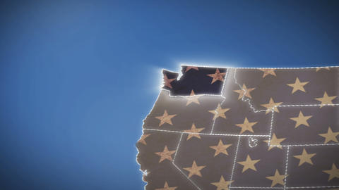 USA map, Washington pull out, all states available. Blue background Footage