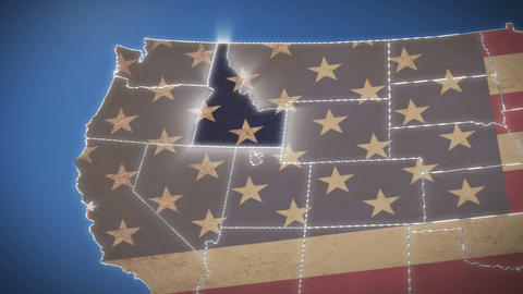 USA map, Idaho pull out, all states available. Blue background Live Action