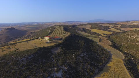 Aerial drone footage of Beautiful house on the hill with olive plantation Live Action