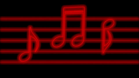 Animation of red glowing music notes in neon light which they jump in rhythm, loop background Animation