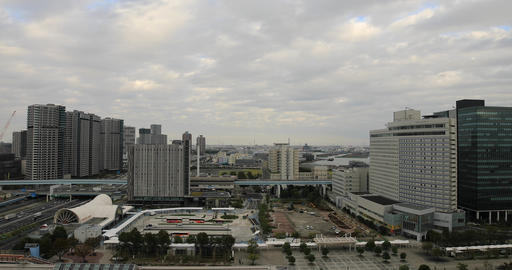 A urban street of cityscape in Ariake Tokyo daytime cloudy high angle wide shot Live Action