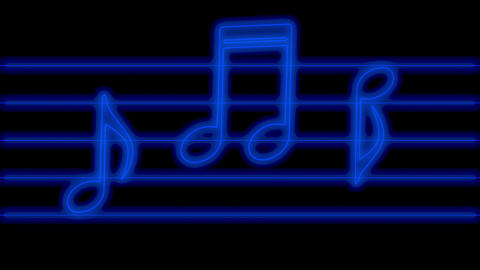 Animation of blue glowing music notes in neon light which they jump in rhythm, loop background Animation