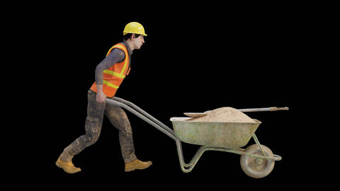 Building worker pushing a wheelbarrow Animation
