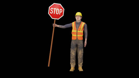 Worker holding a stop sign Animation