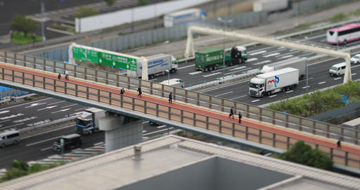 A urban street of cityscape in Ariake Tokyo daytime cloudy tiltshift high angle Live Action