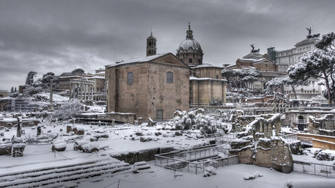 Snow in Rome timelapse 01 Live Action
