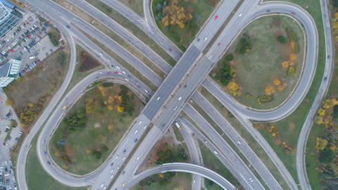 Top view of ring road, bypass road in Boyana, Sofia, Bulgaria Live Action