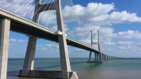 Impressive architecture of Vasco da Gama Bridge in Lisbon - CITY OF LISBON Live Action