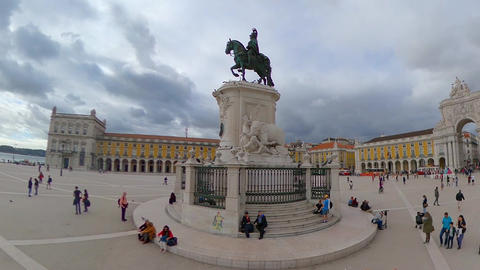 Commerce Sqaure in Lisbon called Praca do Comercio in the city center - CITY OF Live Action
