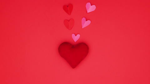 Little red and pink hearts come out from big red heart - Valentine's day stop motion animation Animation