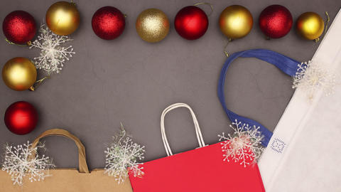 Christmas shopping stop motion animation - Christmas sale Stock Video Footage