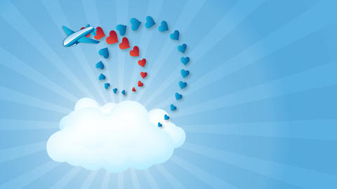 Animation. The blue sky, the rays of the sun, a plane flies out of a white cloud Animation