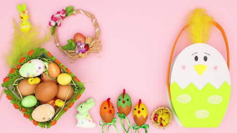 Beautiful Easter decoration on pink background - Happy Easter Stop motion animation Animation