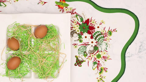 Happy Easter stop motion animation - Beautiful Easter decoration on white background Animation