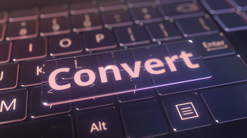 Futuristic computer keyboard and transparent convert key. Conceptual 3D Live Action