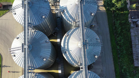 industrial grain silos grain storage from drone, aerial view Live Action