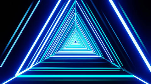 Beautiful abstract neon flight tunnel triangles animated background Animation