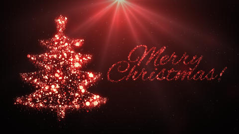 Red Christmas tree with Merry Christmas text Animation