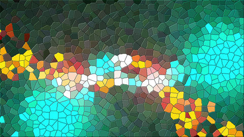 Multicolor mosaic of various shapes. Computer generated abstract background, 3d Live Action
