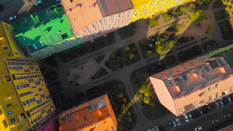 Top view aerial footage of Comfort Town Live Action