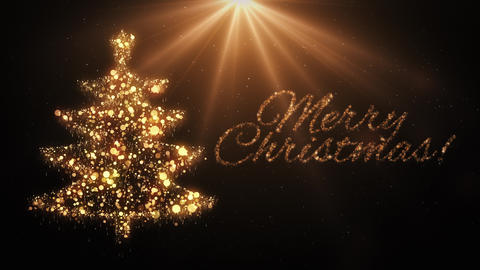 Gold Christmas tree with Merry Christmas text Animation