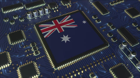 Flag of Australia on the operating chipset. Australian information technology or Live Action