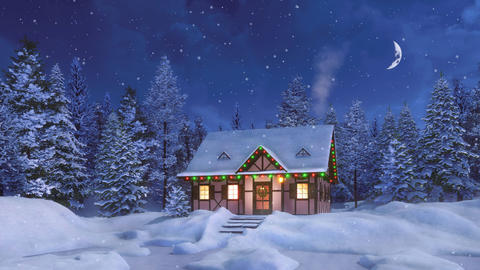 House decorated for Christmas holidays at snowy winter night Animation