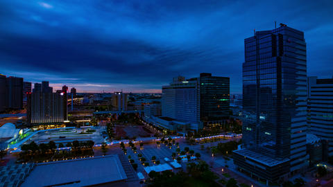 A dawn timelapse at the urban city street in Ariake Tokyo high angle wide shot Live Action