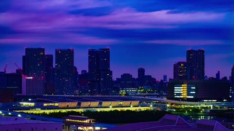 A dawn timelapse at the urban city street in Ariake Tokyo high angle long shot Live Action