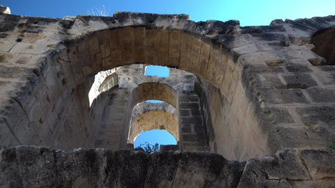 Ancient Roman ruins. Ancient amphitheater located in El Jem, Tunis. The passage Live Action