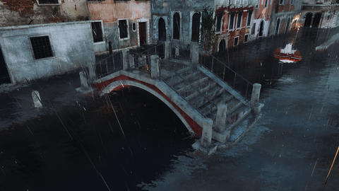 Flooded ancient bridge at Acqua Alta in Venice, Italy 3D Live Action