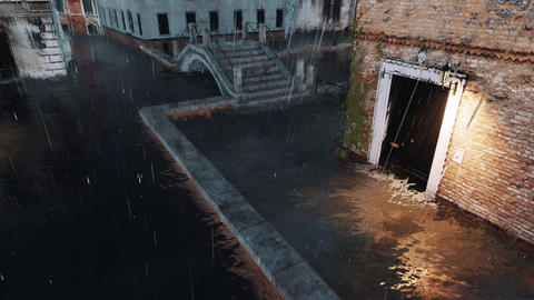 Empty flooded street in Venice at rainy evening 3D Live Action