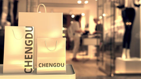Shopping bags with Chengdu text. Shopping in China… Stock Video Footage