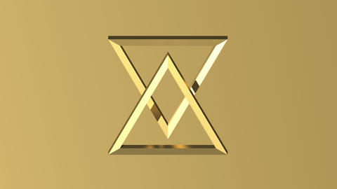 two triangles in slow movement make a star of David, gold color Animation