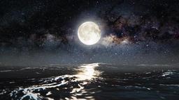 Abstract Still Night Seascape Scene Animation