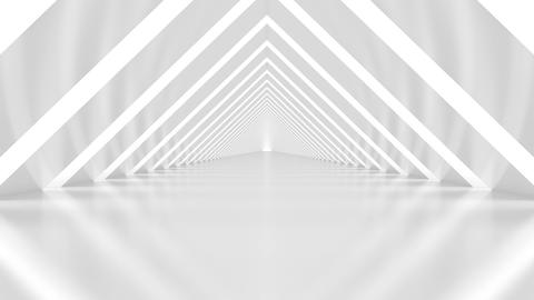Abstract Triangular White Illuminated Shiny Interior Corridor - loopable 3d animation Animation