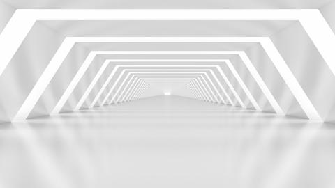 Elegant Abstract White Illuminated Shiny Interior Corridor - loopable 3d animation Animation