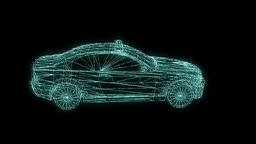 Police Car Wireframe Hologram 7 Animation