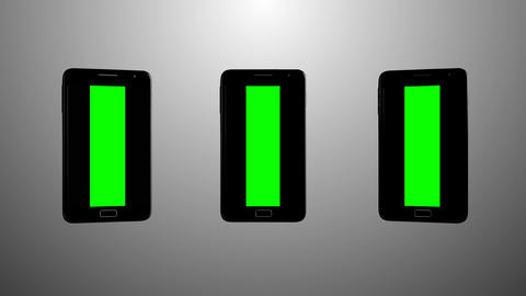 3 Smartphones turns on background Animation